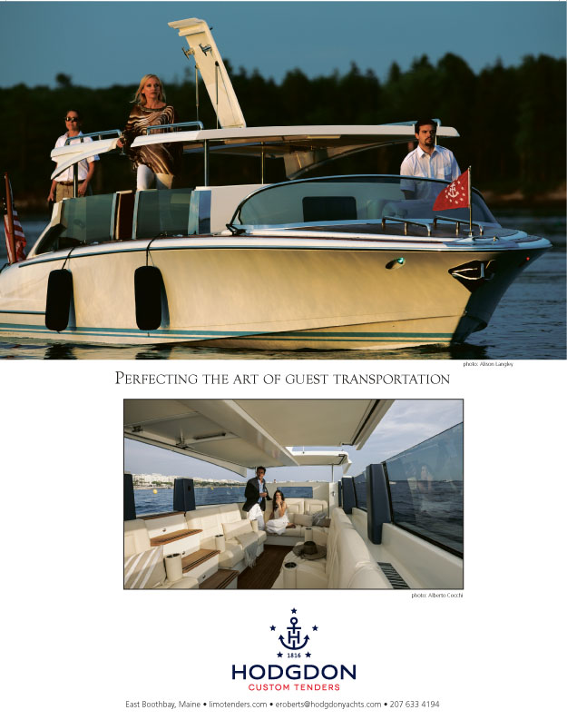 Magazine advertisement, high end luxury yacht builder