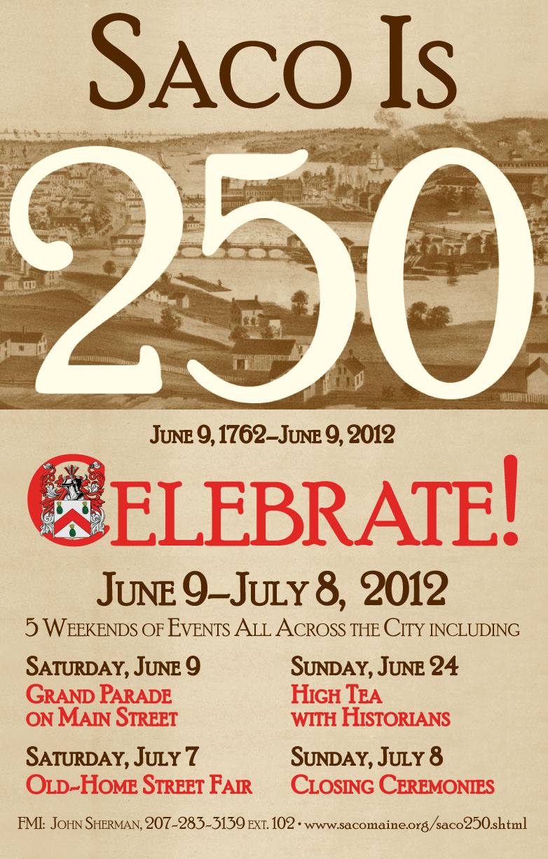 Large Format Poster for Saco, Maine, 250th celebration