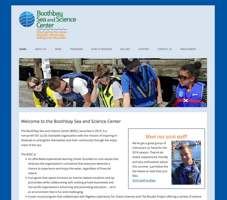 Boothbay Sea and Science Center, non-profit organization, sailing camp, marine science camp