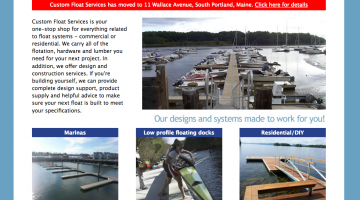 Custom Float Services builds docks, floats and piers and supplies do it yourself