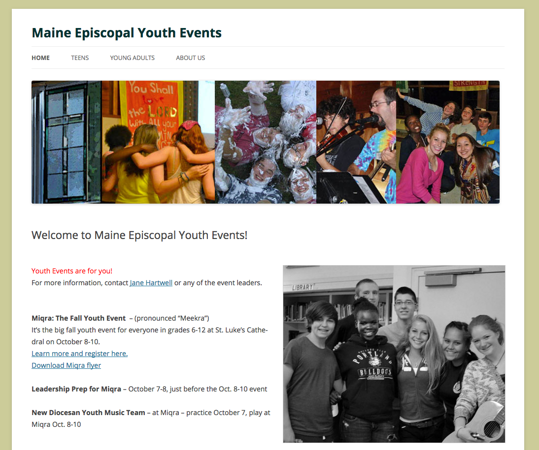 Maine Episcopal Youth Events, religious, calendar
