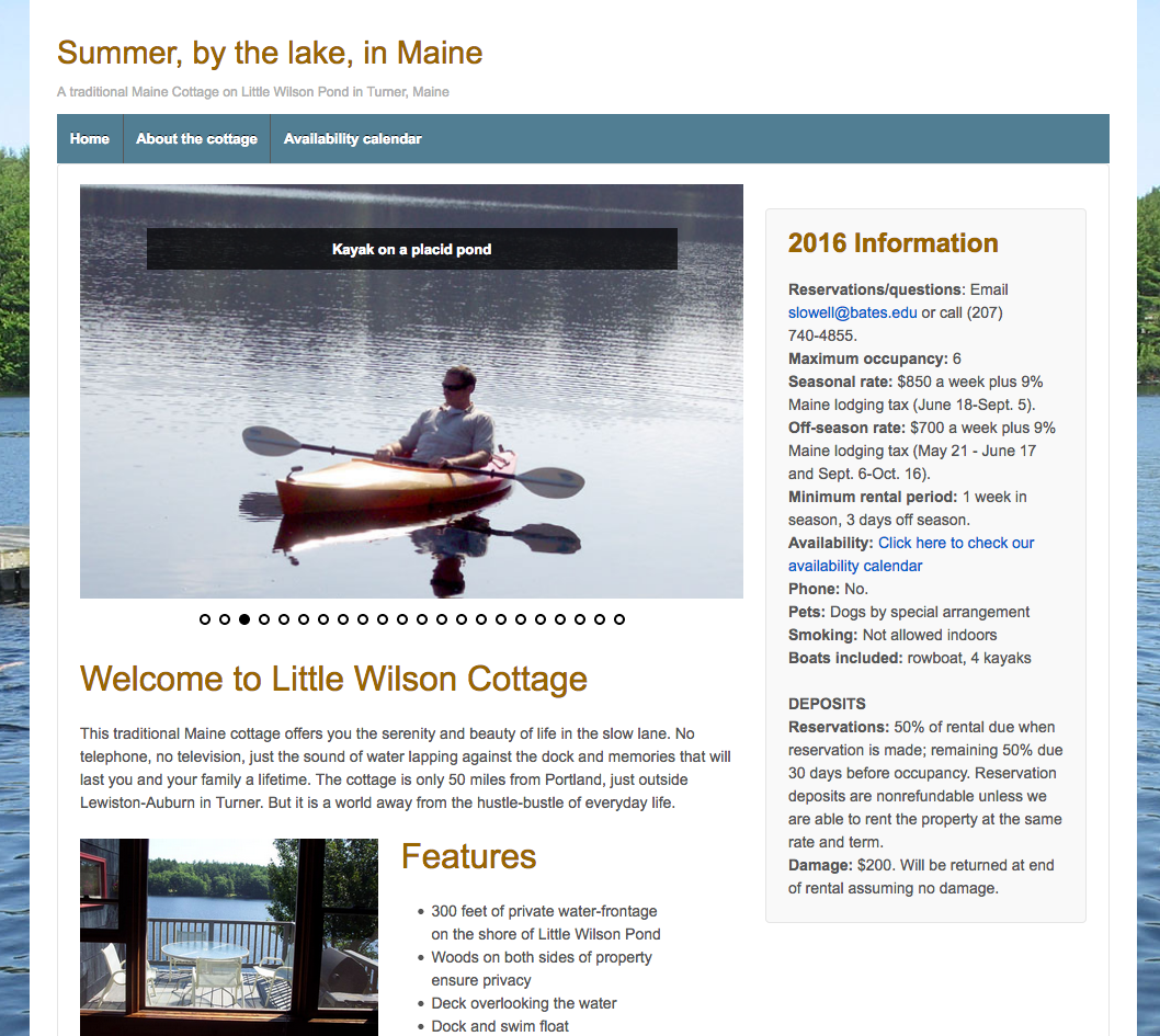 Our Cottage in Maine, vacation rental, tourism, availability calendar