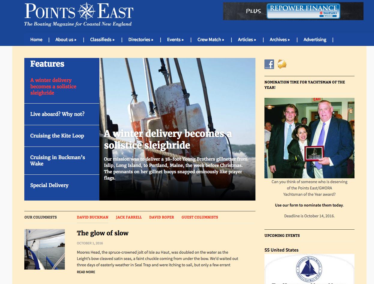 Points East Magazine, publication, magazine, content management