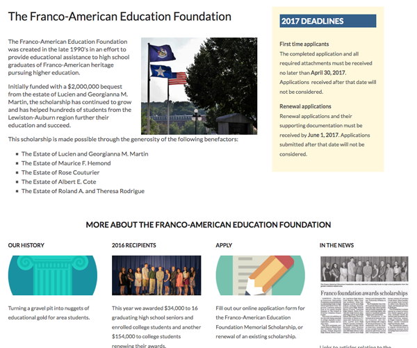 Franco American Education Foundation Scholarship Fund Interactive form submission