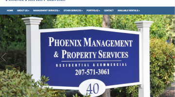 Phoenix Property Management website with work order submission form for property management company